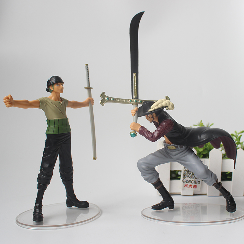 Anime One Piece Dracule Mihawk and Roronoa Zoro pvc Action Figure Classic scene Collection Model brand new portrait of pirates one piece roronoa zoro 23cm pvc cool cartoon action figure model toy for gift kids free shipping