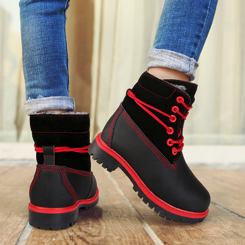 2018 New Winter Children Martin Boots Cow suede Leather Kids Snow Boots Waterproof Lace high shoes Girls Boys Keep warm Shoes 2018 new girls fur one snow boots winter 2018 new children s net red children s shoes parent child warm cotton shoes lace