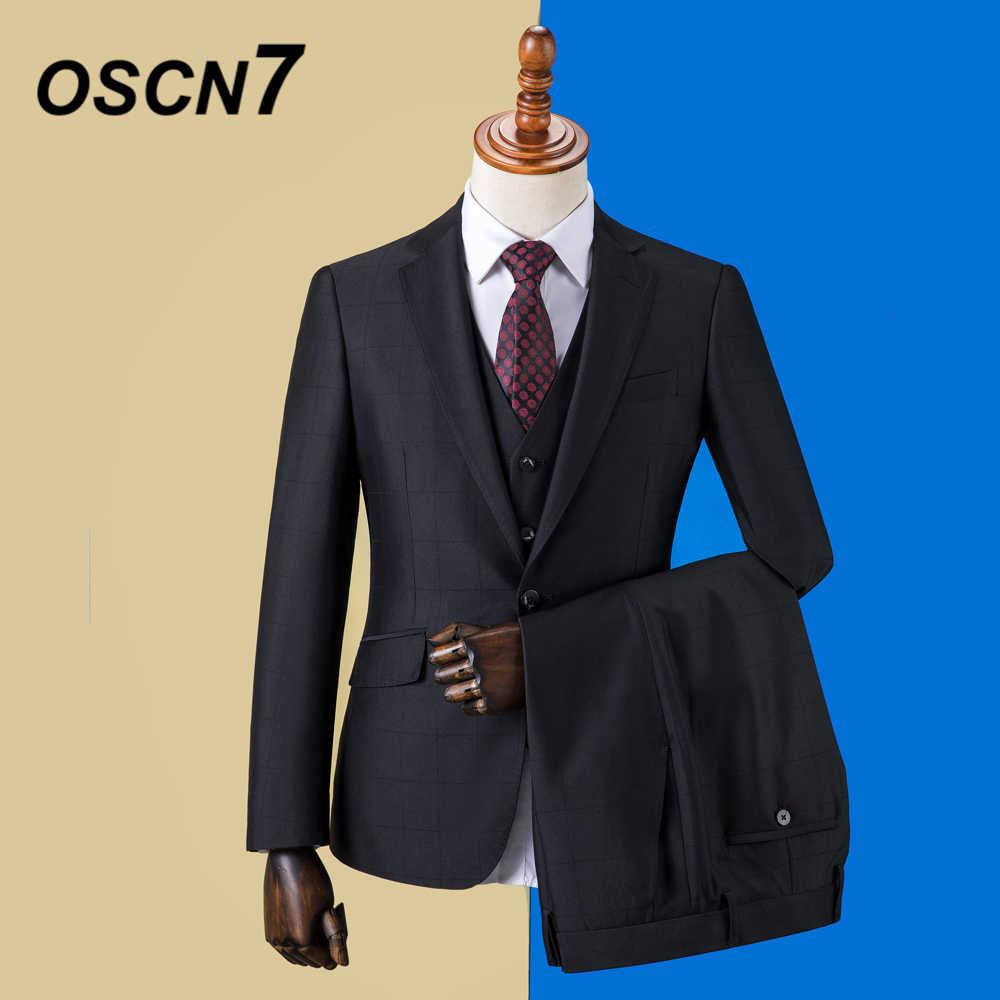OSCN7 2019 チェック柄カスタムメイドスーツ男性スリムフィットウェディングパーティーメンズオーダーメイドスーツファッション 3 ピースブレザーパンツベスト ZM-591
