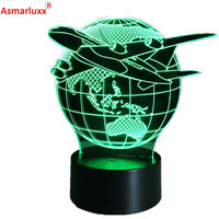 Cool Toy 3D Aircraft Warplane Lamp Model Creative Night Light Touch Jet Plane Desk Lamp LED