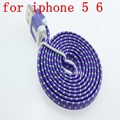 1000pcs Flat Noodle 1M 8PIN USB Adapter Charger Fabric Braided Nylon Woven Data Sync Cable Cord for iPhone 6  6plus  5 5C 5S