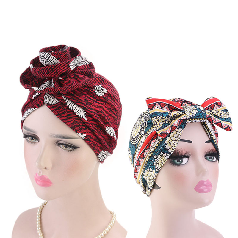 Flower and Bow Print Turban 2pcs set Cotton Hijab Cap Hair Accessories