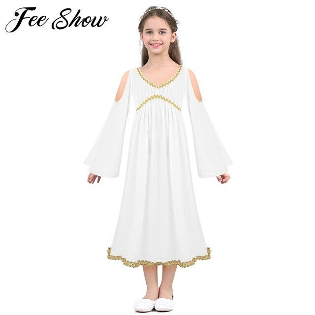 de3757bc6d9f Girls White Greek Goddess Dress Costume Kids Girls Greek Goddess Halloween  Costume Cosplay Role Play Fancy Party Prom Long Dress
