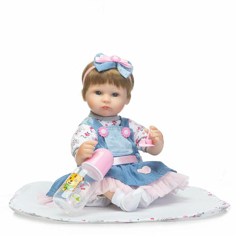 Denim Skirt Doll Soft Silicone 17'' Dolls Reborn Girls Babies Toys For Sale Safe Bebe Stuffed  Birthday Xmas Gifts Free Shipping free shipping 70 cm 28 vinyl and pp cotton reborn babies girls large size girls toddler soft silicone baby dolls toys for child