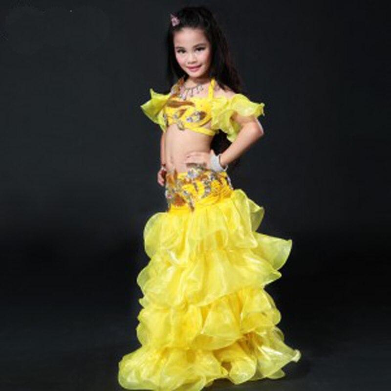 Nouveau 4 couleurs enfants taille ventre danse Costume ensembles soutien-gorge + jupe Bellydance Costumes pour filles enfants style égyptien danse porter