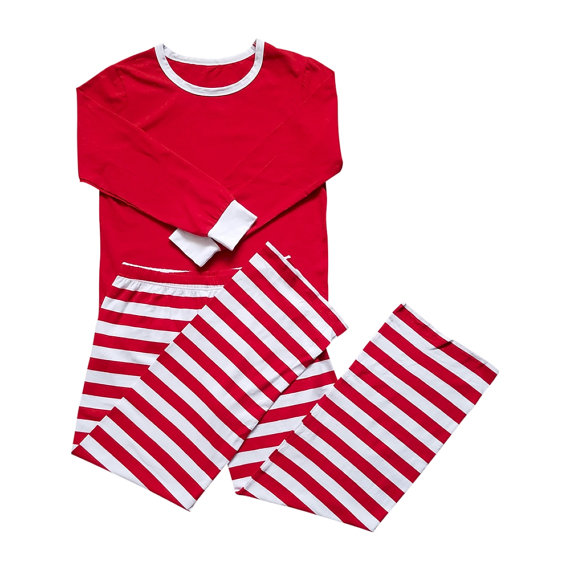 509d2bc724 ... outlet boutique a9748 7219a Christmas Family Matching Outfit Pajamas  Set Adult Women Men Red Green Striped ...