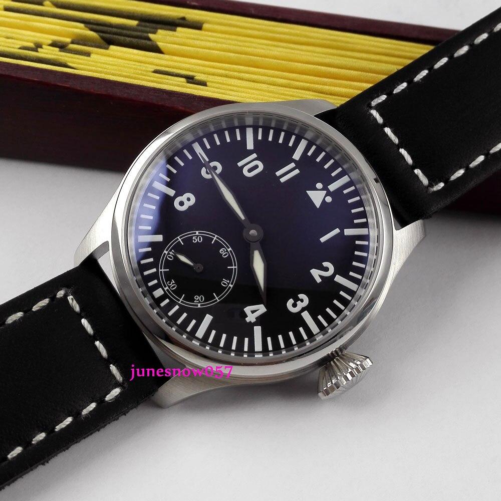 Parnis 47mm black dial blue luminous 17 jewels 6498 hand-winding men's watch Relogio Masculi 287A цена и фото