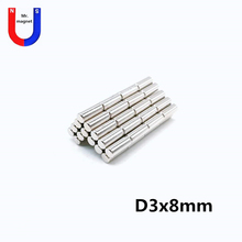цена на 100pcs D3x8 mm Mini small round neodymium magnet 3*8 stationery box magnets 3x8 strong magnet bar permanent NdFeB