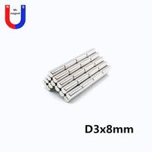 100pcs D3x8 mm Mini small round neodymium magnet 3*8 stationery box magnets 3x8 strong magnet bar permanent NdFeB n30uh ndfeb arc segment or86 15xir80 8xw26 8xl60 mm moto magnet for generators wind turbine neodymium permanent rotor magnet