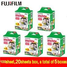 Shiping libre de la original 20/caja de fujifilm fuji instax mini película en blanco 100 hoja de Papel Fotográfico Instantánea Para Instax Mini 8 7 s 25 Cámara