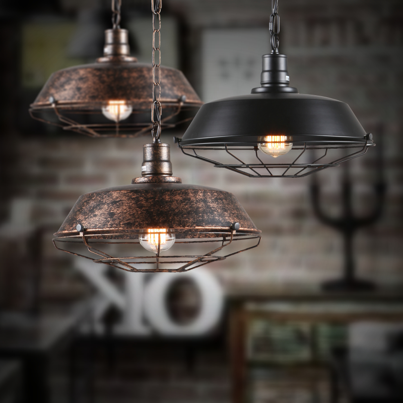 Dia*36/46cm American industrial loft Vintage pendant lights for dining room iron black/rust painted E27 Edison bulb home lamp