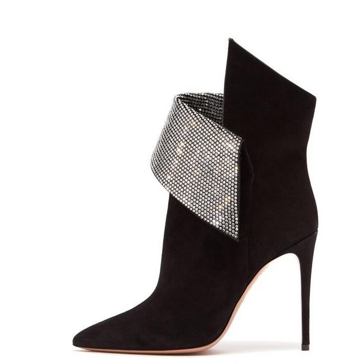 New Arrivals Womens Suede Winter Boots Pointed Toe Sculptural Fold Over Ankle Boots Crystal Embellished Trim Stiletto Heel BootNew Arrivals Womens Suede Winter Boots Pointed Toe Sculptural Fold Over Ankle Boots Crystal Embellished Trim Stiletto Heel Boot