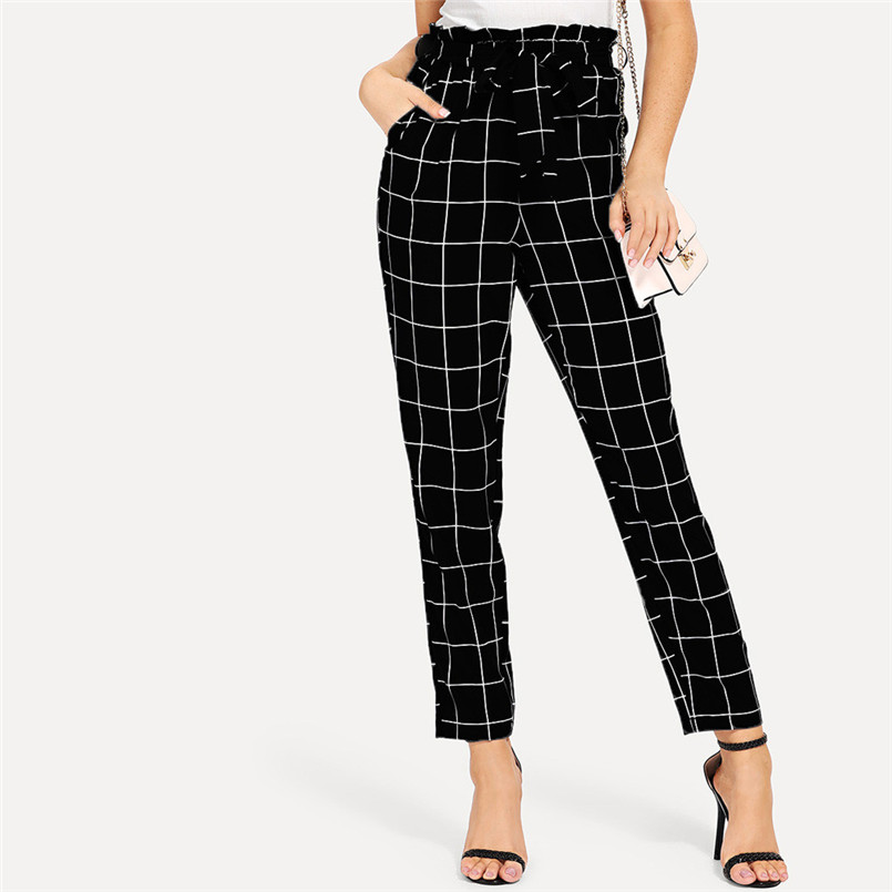 Casual Plaid Pants Women Elastic Waist Pants Women High Waist Bandage Trousers Pencil Pants Calca Feminina Wholesales #F#40SR703
