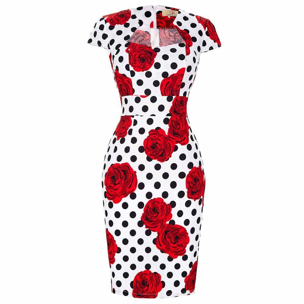 Сексуальное тонкое женское летнее платье, облегающее платье-карандаш из хлопка размера плюс 3XL, винтажное платье 50 s, платье для офиса, платье для работы - Цвет: 12
