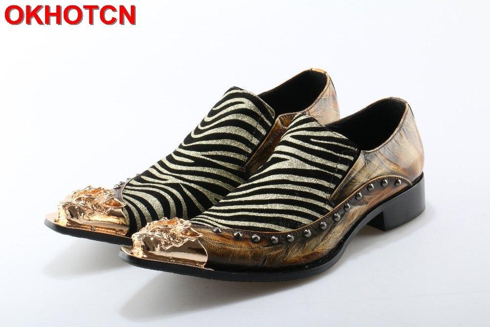 OKHOTCN New Arrival Pointed Toe Men Shoes Korean Style Rivets Personalized Zebra Pattern joint Genuine Leather men