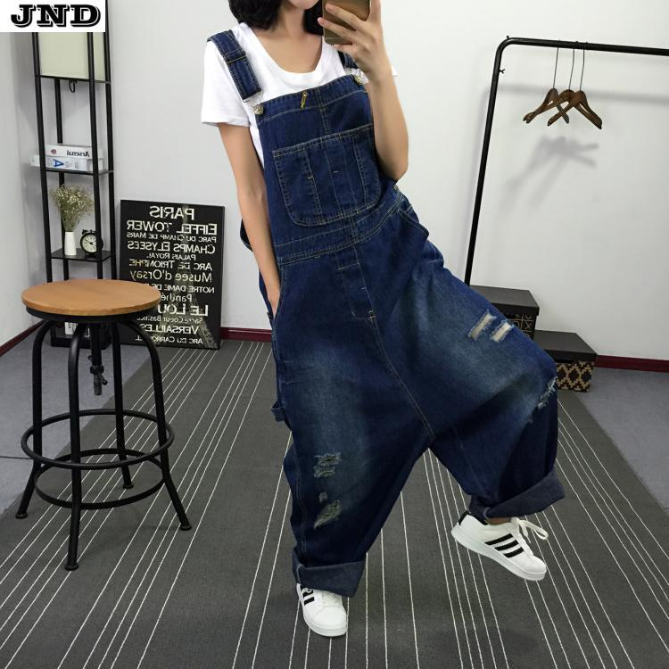 Hailey's Store Free Shipping 2016 New Fashion Ladies Overalls Harem Pants High Quality Denim Jeans Loose Jumpsuits And Rompers Plus Size S-XL