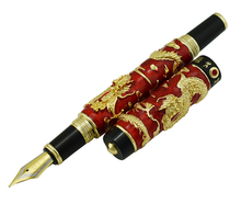 Jinhao Red Cloisonne Double Dragon Fountain Pen Iridium Medium Nib Advanced Craft Writing Gift for Business, Graduate