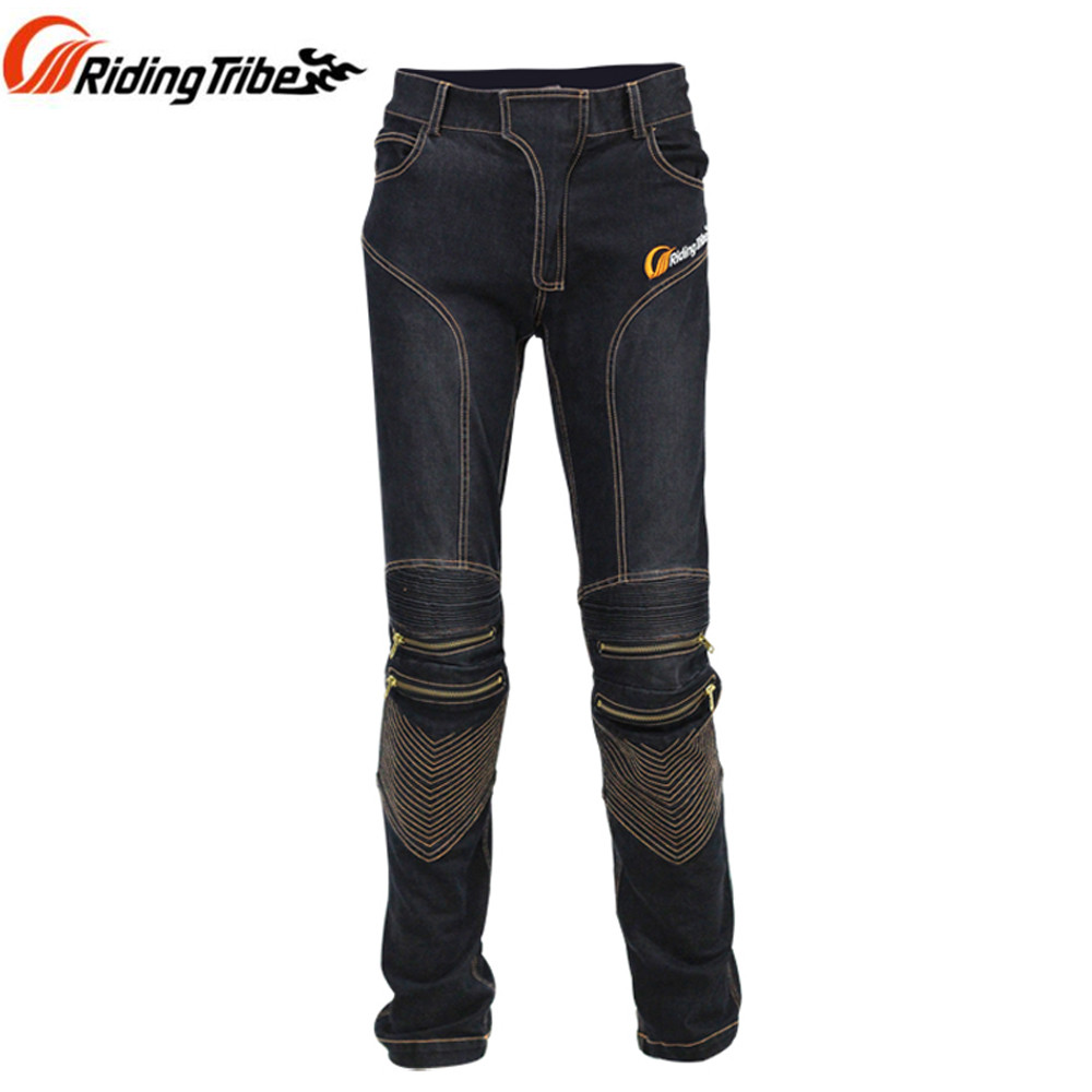 Riding Tribe Men Jeans Racing Motorcycle Protective Pants Blue And Black  With CE Knee Pads