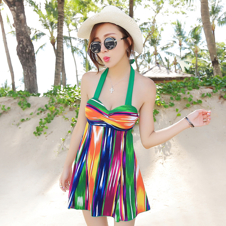 Triangle One-Piece swimsuit Suits skirt size chest gather  female steel Astorga big yards was thin swimsuit cover the belly anlala 2016 new swimsuit female siamese boxer skirt plus fertilizer xl cover the belly was thin steel prop gather small chest