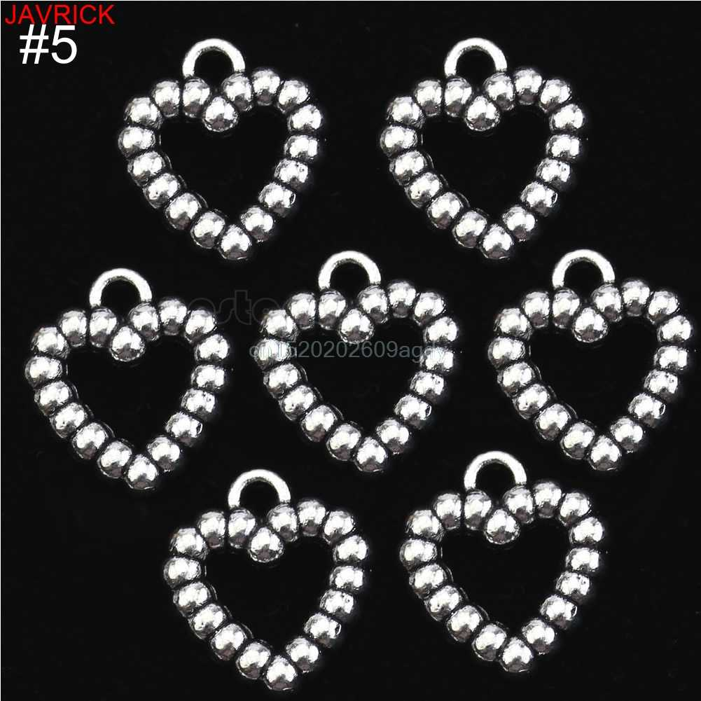 Lot 50 Silver Plated MADE WITH LOVE CZ Heart Charms Pendants Beads DIY 4 Style