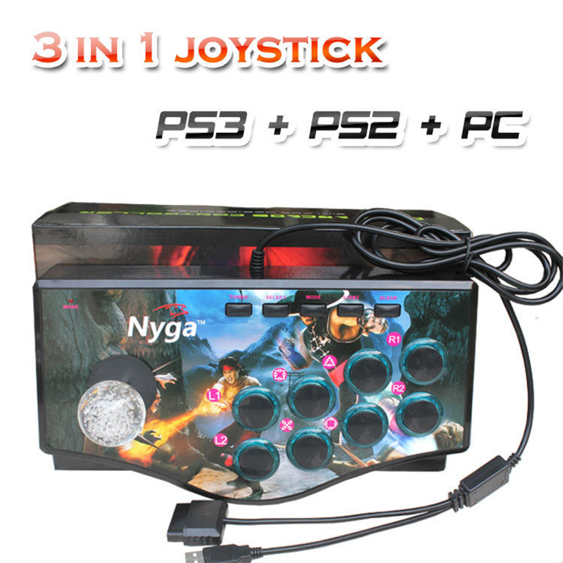 Computer PC USB Arcade Gamepad Joystick Game Controller Fighting Stick Controller Street Fighter Joypad Rocker for PC PS2 PS3 dilong pu702 wired usb street fighter joystick controller for pc black yellow red