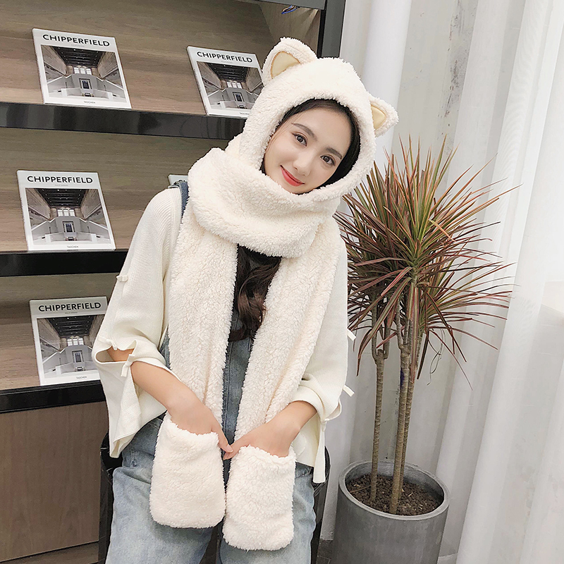 ZDFURS*Winter Hat Women Double Thick Hat Scarf Gloves One Three-piece Korean Version Parent-child Thickening Scarf Students