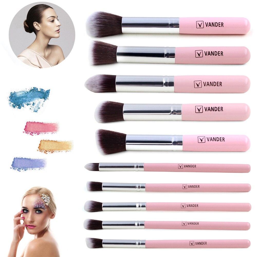 Vander 10Pcs/Set Professional White/Pink Makeup Brushes Cosmetic Kits Contour Blending Foundation/powder/concealer/eyeliner printer uv white ink tank uv tank for uv bulk system tank 1l