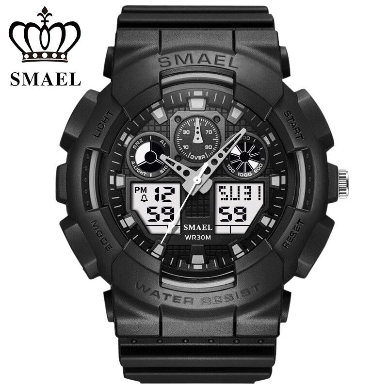 Smael horloge cadrans chronographe numérique-montre hommes led militaire montre de plongée robe sport montres mode en plein air hommes montres