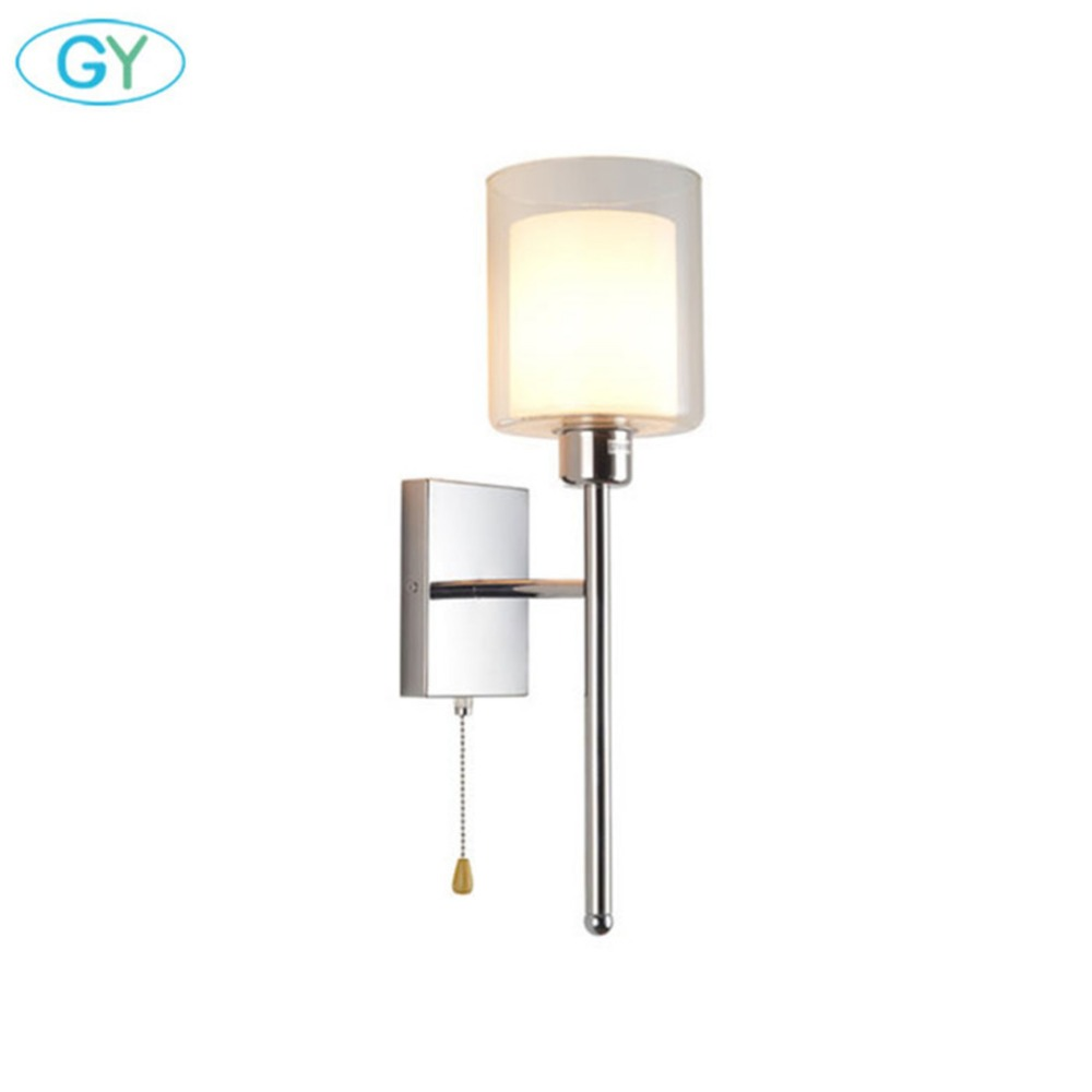 Modern art deco wall light with pull chain switch america style chrome finish bedside wall lamp