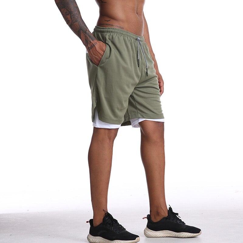 correndo shorts de dois andares homens fitness