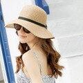 Женская мода Шляпа Солнца Мода Лето Складная Соломенные Шляпы Женщин Пляж Головные Уборы 2 Цвета