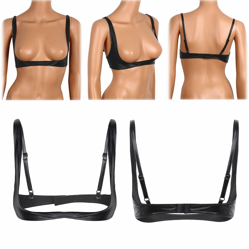 Women Sexy Brs Lingerie Fashion Faux Leather Bra Tops Adjustable Wire-free Open Cup Bra Tops Shelf Bra Exposed Breasts Nipples