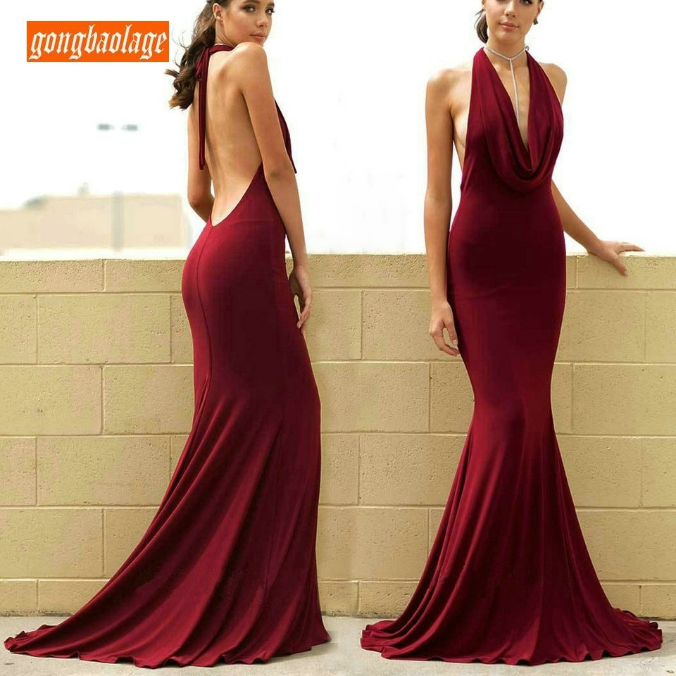 Sexy Burgundy Mermaid Party Long   Evening     Dress   2019 Women   Evening   Gowns Cheap Elastic Satin Backless Slim Fit Formal Prom   Dress
