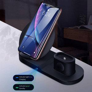 Image 4 - 3 in 1 Wireless Charger Stand for iPhone 8 X XR XS Wireless Charging Dock Station Magnetic Charger for Apple Watch 4 3 2 1 3in1
