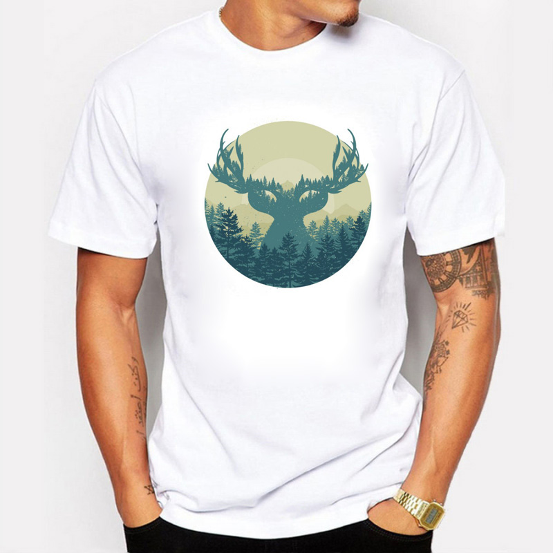 The Summer Men White T Shirts Elk Forest Printed cotton Swag Fantasy fog forest T shirts