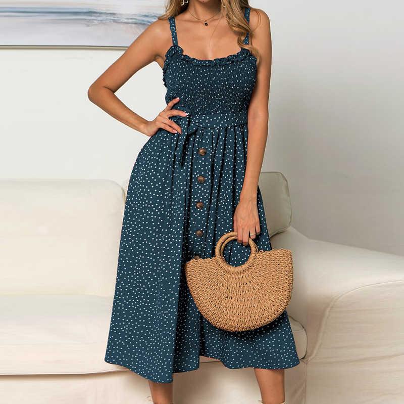 Элегантный в горошек платье макси Для женщин богемные длинные платья Sexy Lady кнопка для ремешка платье трапециевидной формы Повседневные принты летние пляжные платья