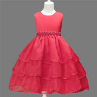 Children Eventing Clothes Sleeveless Party Flower Kids Summer Floral Lace Girl Princess Party Pearl Lace Tulle Flower Dress