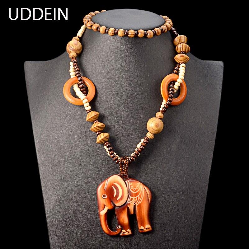 6c4416df4bda Uddein madera más nuevo chunky cadena elefante diseño pendiente declaración collar  mujeres joyería Bohemia vintage Maxi collar largo