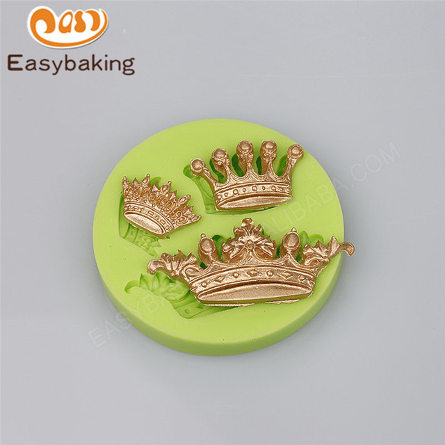 3 Cavity different shape emperor crowns fondant cupcake silicone ...
