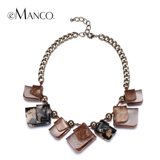 eManco coffee acrylic geometric choker necklace link chain zinc alloy statement bib necklaces for women personalized jewelry