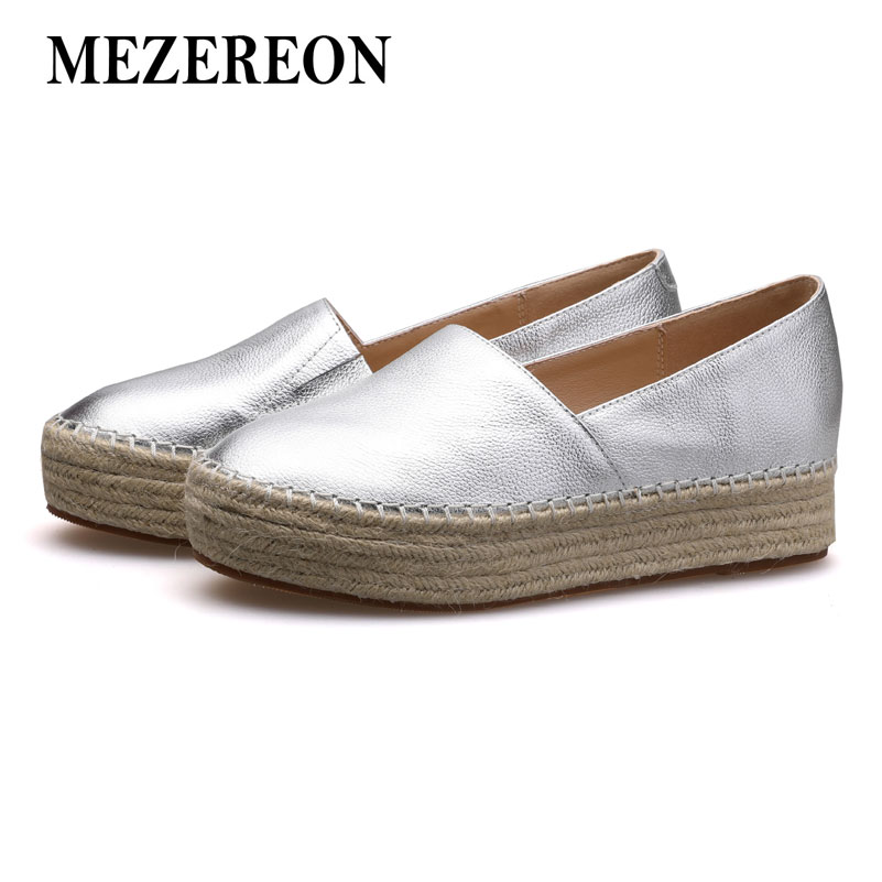 MEZEREON Women Flats Genuine Leather Shoes Woman Slip On Loafers Woman Platform Flat Shoe Silver Gold Espadrilles Women Flats