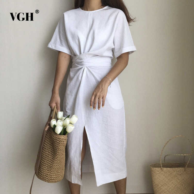 VGH 2018 Korea Design Summer Dresses Solid Color Loose O Neck Natural Waist Vintage Split The Fork Fashion Women Dress