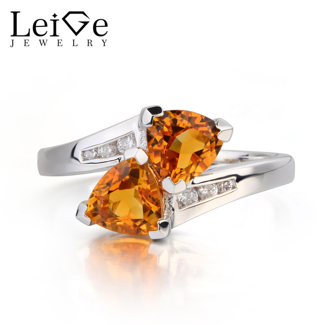 Leige Jewelry Real Natural Citrine Ring