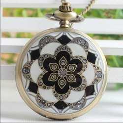 Новая мода кварцевые капли клея цветы флип часы кулон Стимпанк Цепочки и ожерелья карманные часы подарок