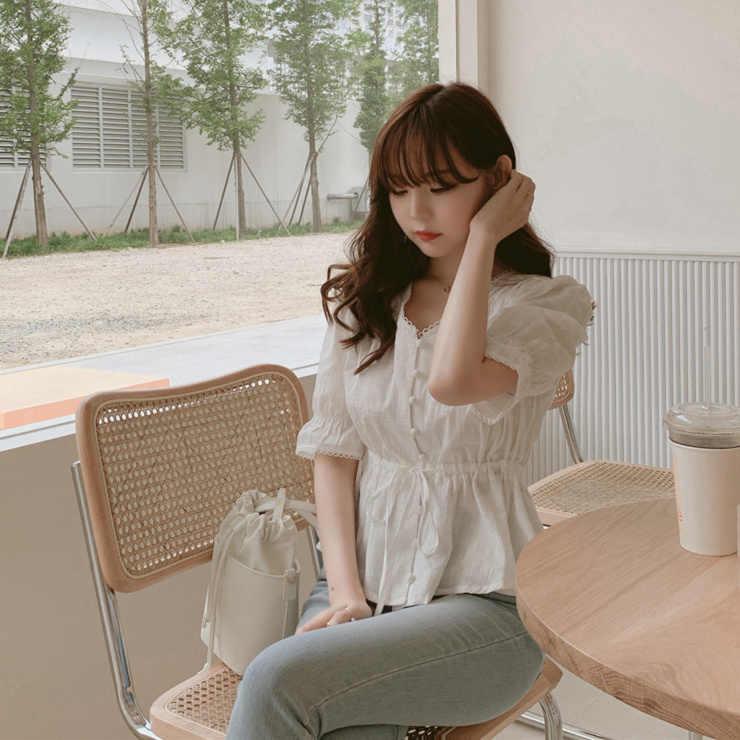 Yeni nakış gömlek yaz beyaz bluz kadın üstleri femme Casual kadın yarım kollu kız bluz keten pamuk dantel artı boyutu