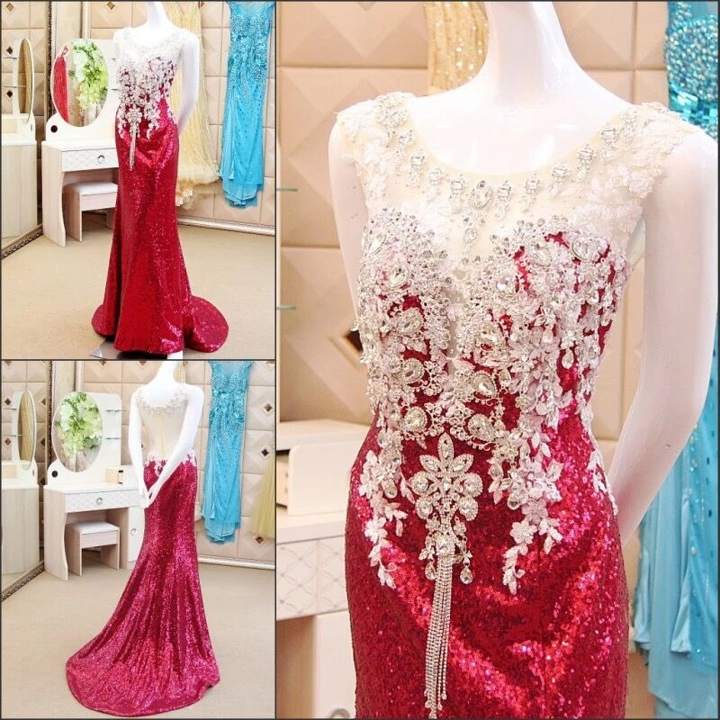 Wine Red Mermaid Sequins Tulle Lace Crystal Beaded Stones Sexy 2019 New Evening Dress Party Gowns