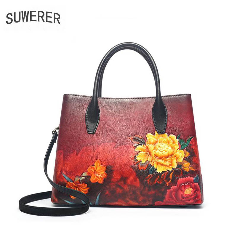 SUWERER 2019 New Women Genuine Leather bags luxury handbags real Cowhide designer Embossed bag tote women leather shoulder bag