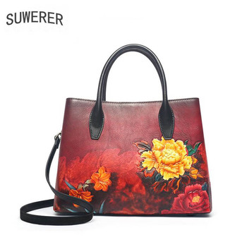 SUWERER 2020 New Women Genuine Leather bags luxury handbags real Cowhide designer Embossed bag tote women leather shoulder bag