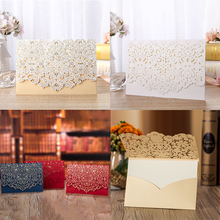 50pcs Blue Gold White Red Luxury Laser Cut Wedding Invitations Card Elegant Greeting Envelopes Party Favor Supplies