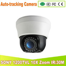 YUNSYE Free shipping Auto Tracking, 10X Optical Zoom Mini camera indoor high Auto-tracking 3.5inch mini high speed dome IR 30